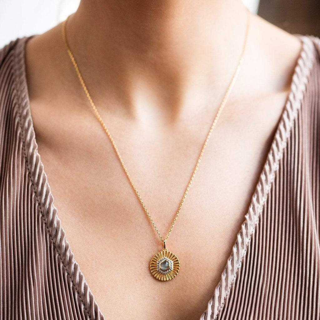labradorite and white topaz textured disc pendant necklace yellow gold statement jewelry