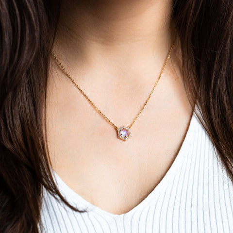 Moonstone & Diamond Hexagon Pendant Necklace