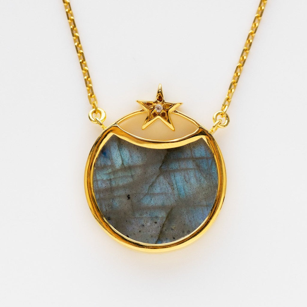 labradorite star eclipse celestial necklace yellow gold jewelry