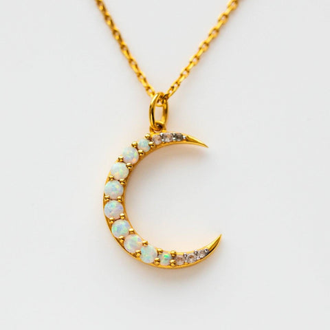 opal and white topaz crescent moon necklace pendant unique celestial jewelry