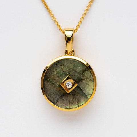 labradorite diamond set locket necklace pendant yellow gold unique jewelry