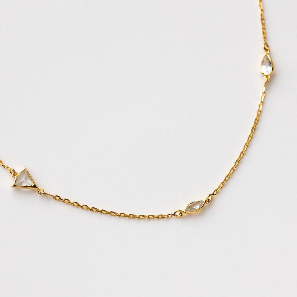 triangle marquise necklace with white topaz chain yellow gold jewelry
