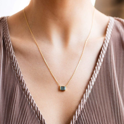 labradorite rectangle bezel set necklace modern yellow gold jewelry