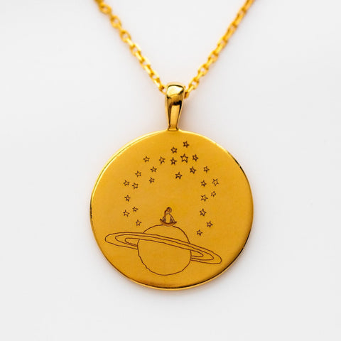 yellow gold mindful coin necklace pendant unique stargaze jewelry
