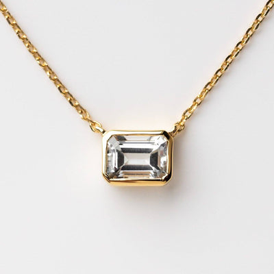 Supernova Necklace in White Topaz dainty modern yellow gold jewelry