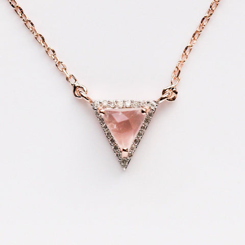 Rose Gold, Pink Quartz & Diamond Necklace - necklaces - Carrie Elizabeth Jewelry local eclectic
