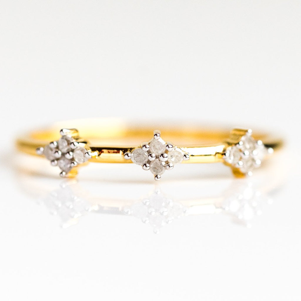 Diamond Cluster Stacking Ring - rings - Carrie Elizabeth Jewelry local eclectic