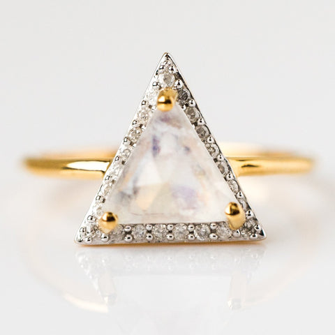 Moonstone & Diamond Triangle Ring - rings - Carrie Elizabeth Jewelry local eclectic