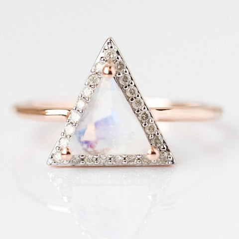 Rose Gold & Moonstone Diamond Triangle Ring - rings - Carrie Elizabeth Jewelry local eclectic