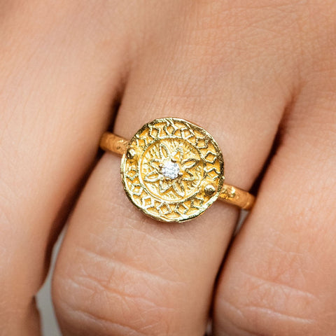 Mandala Inspired CZ Yellow Gold Ring