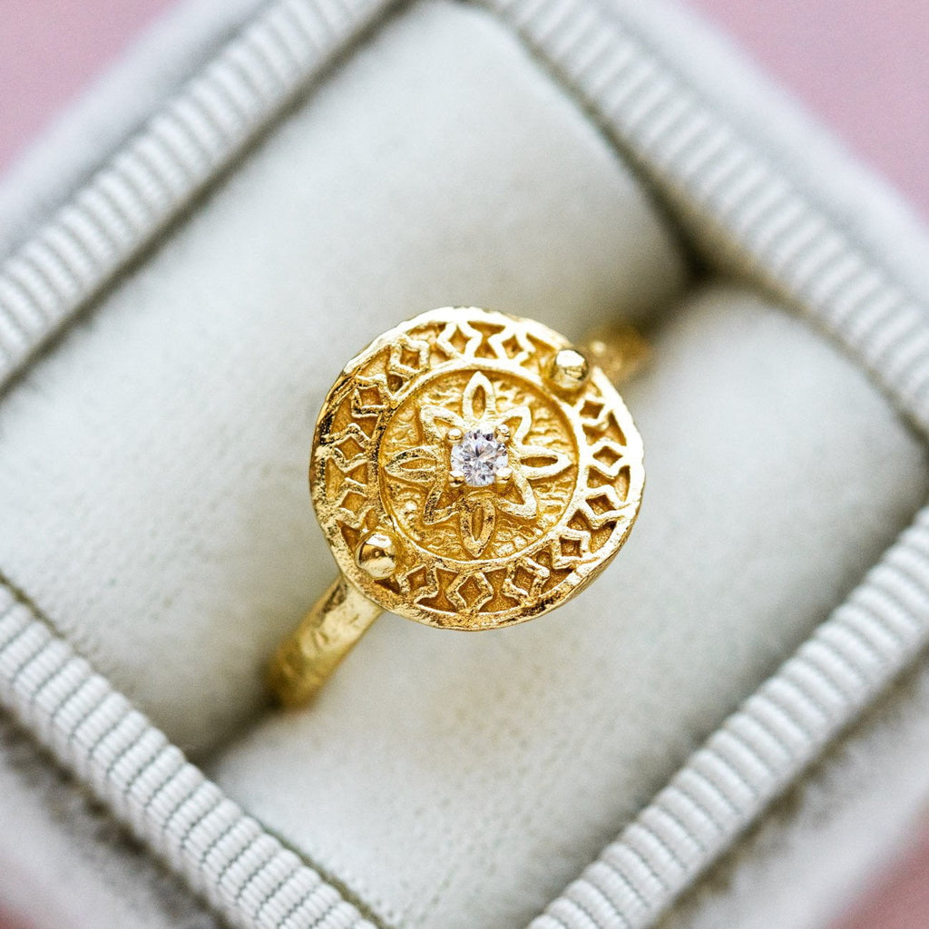Yellow Gold Statement Ring CZ and Floral Inspired