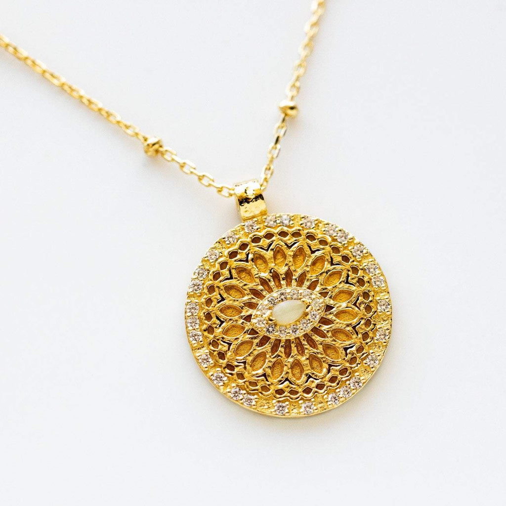 Hammered Eye Pendant Beaded Chain Engraved Back