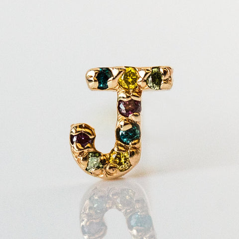 J-Initial Earring in Yellow Gold - earrings - Cloverpost local eclectic