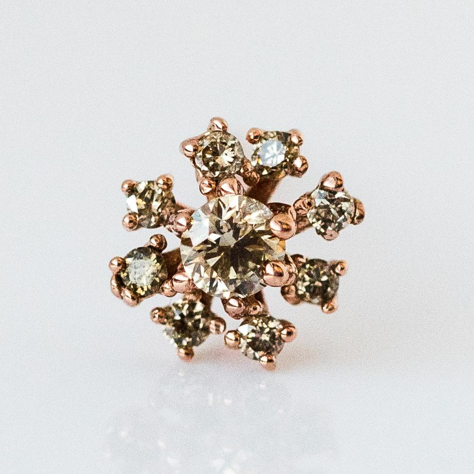 Rose Gold Stoned Flower Earring with Brown Diamonds - earrings - Cloverpost local eclectic
