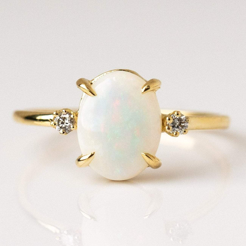 opal ring, gold opal ring with diamonds, unique engagement ring