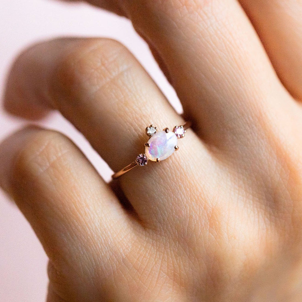 Fairy Princess Ring with Opal, Sapphires & Diamond