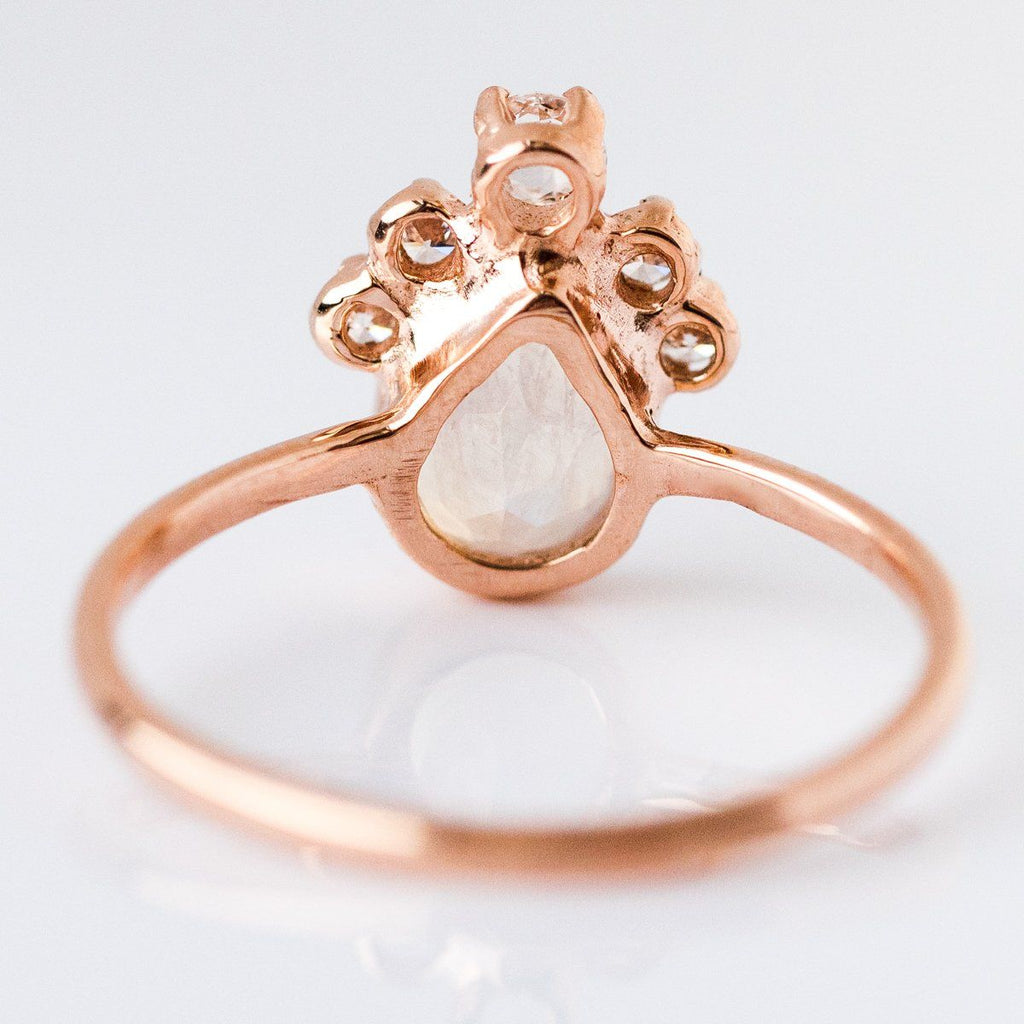 Pear Moonstone Crown Ring in Rose Gold - rings - Charlie and Marcelle local eclectic