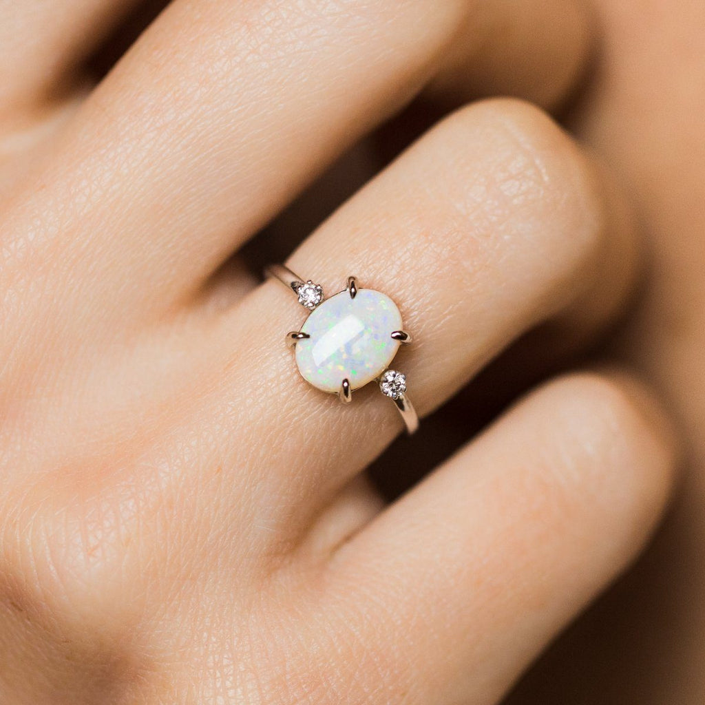opal ring, white gold opal ring with diamonds, unique engagement ring