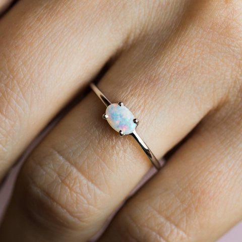 Sweetest Opal Ring in White Gold - rings - Charlie and Marcelle local eclectic