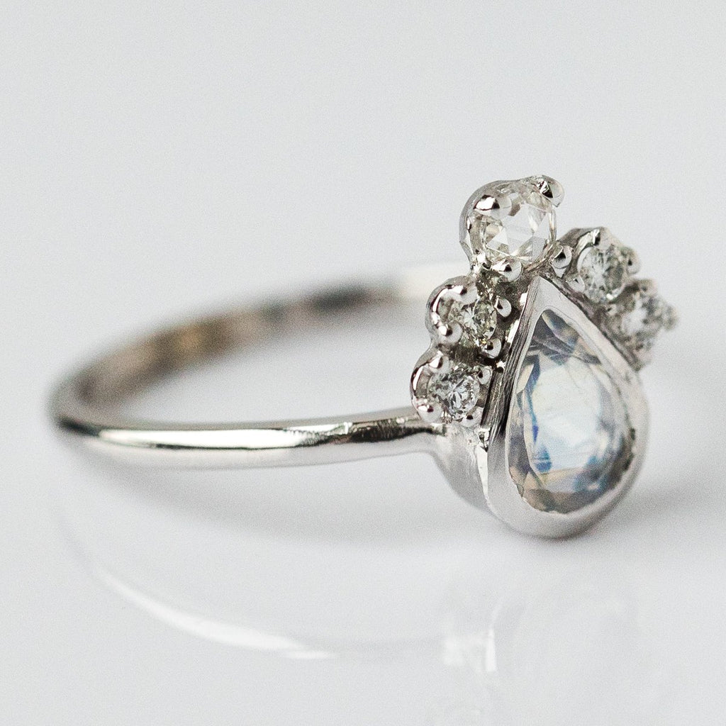 Pear Moonstone Crown Ring in White Gold - rings - Charlie and Marcelle local eclectic