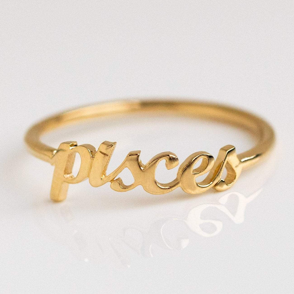 Solid Yellow Gold Fine Pisces Zodiac Ring Personalized Jewelry Charlie and Marcelle
