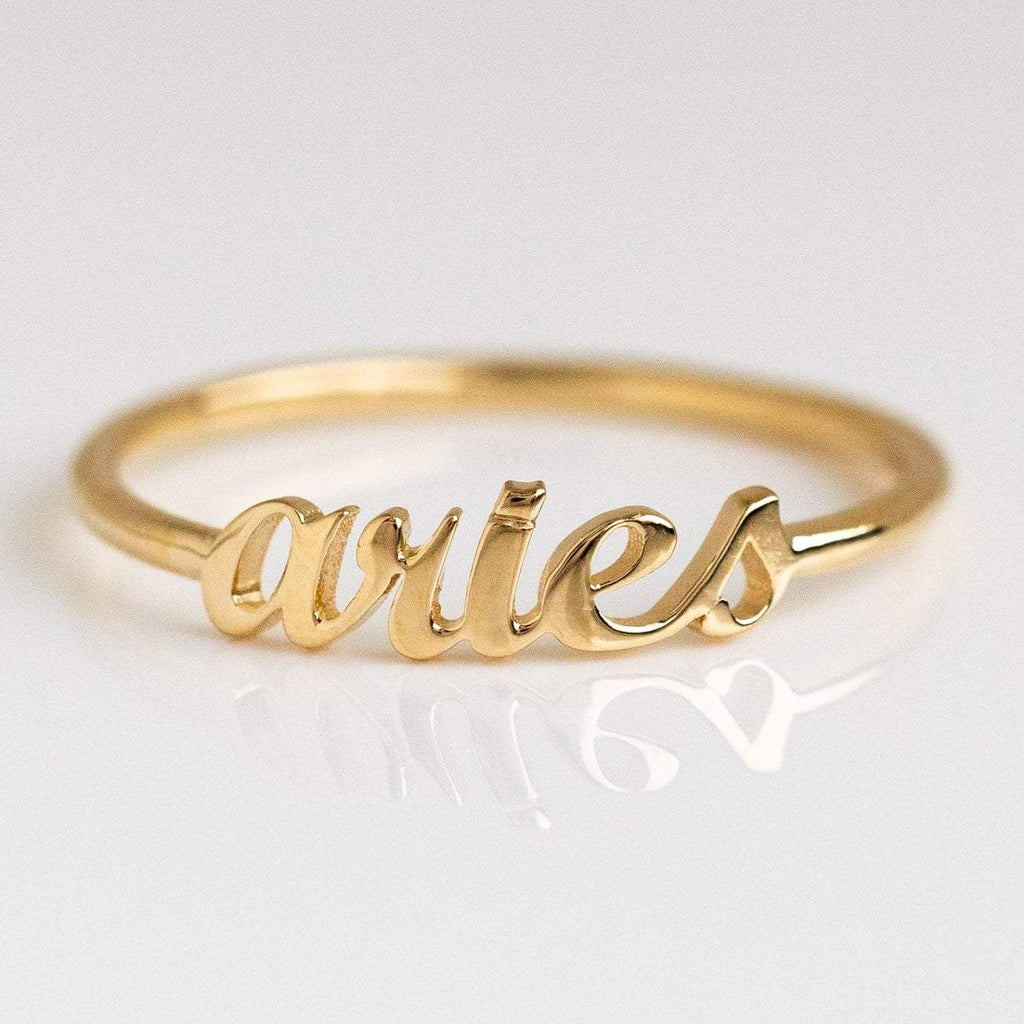 Solid Yellow Gold Fine Aries Zodiac Ring Personalized Jewelry Charlie and Marcelle