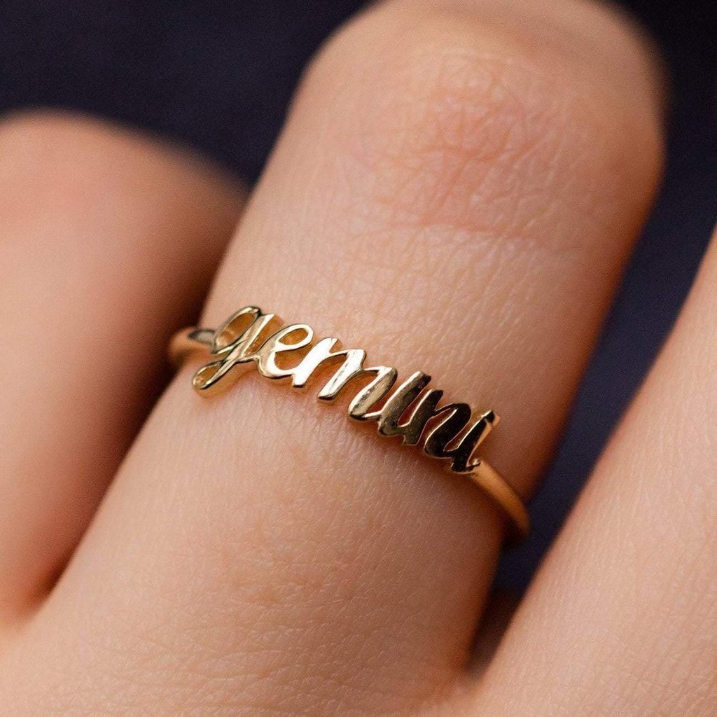 Solid Yellow Gold Fine Gemini Zodiac Ring Personalized Jewelry Charlie and Marcelle