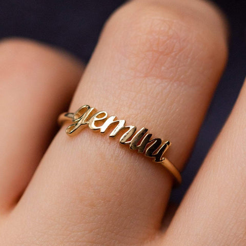 Solid Yellow Gold Fine Zodiac Ring Personalized Jewelry Charlie and Marcelle