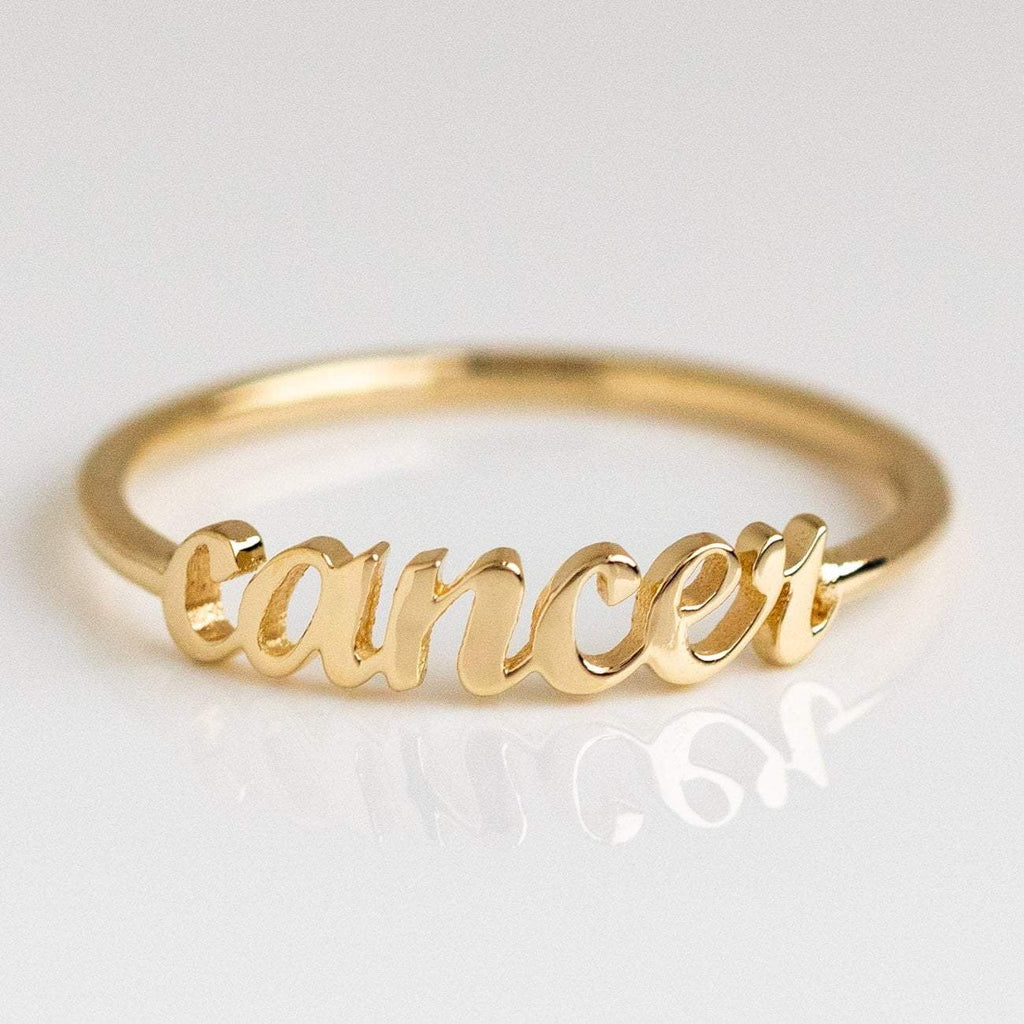 Solid Yellow Gold Fine Cancer Zodiac Ring Personalized Jewelry Charlie and Marcelle