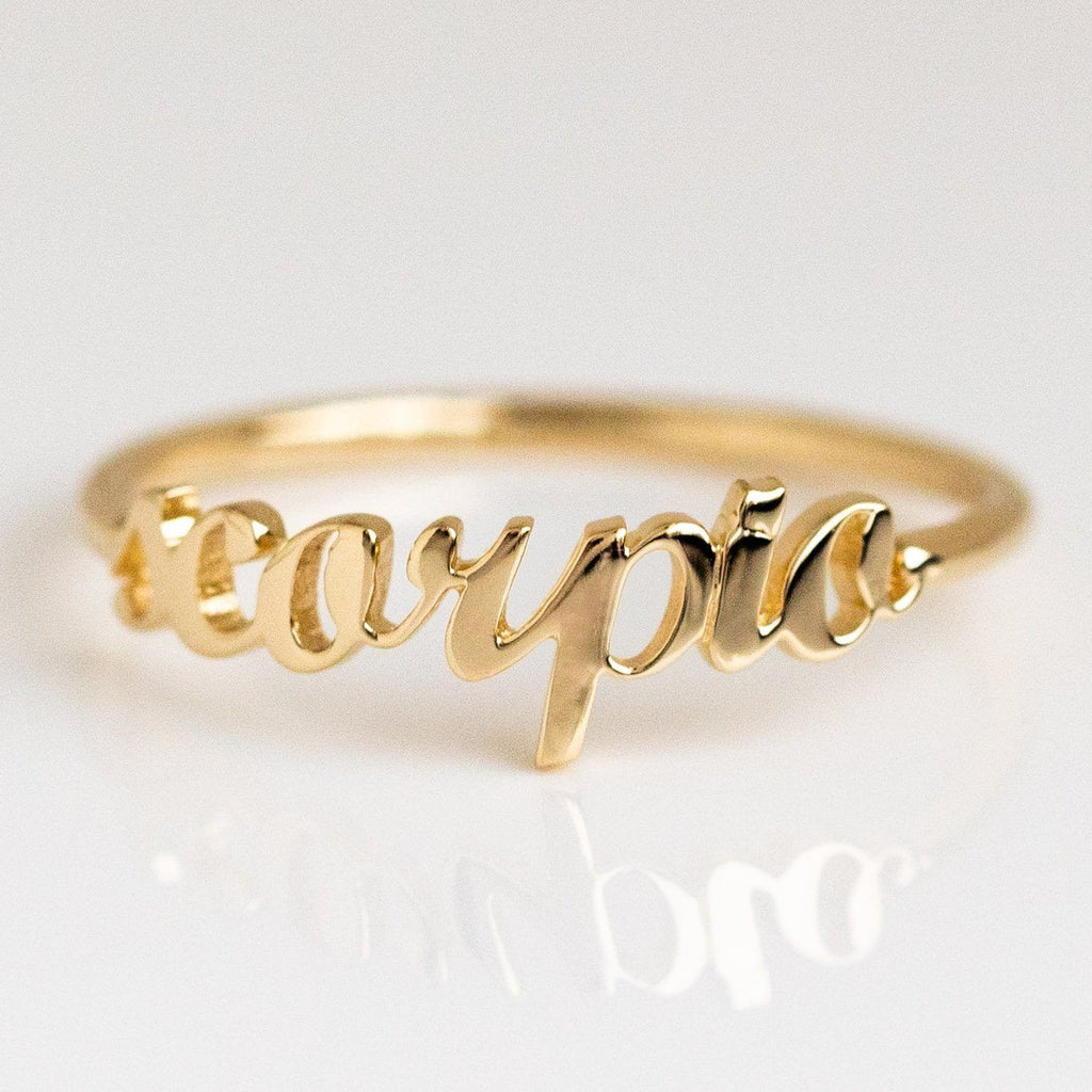 Solid Yellow Gold Fine Scorpio Zodiac Ring Personalized Jewelry Charlie and Marcelle