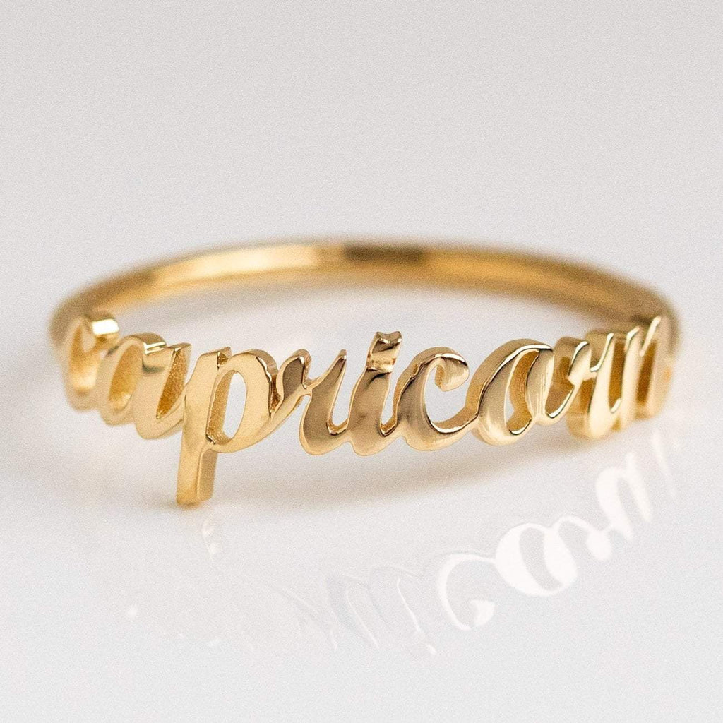 Solid Yellow Gold Fine Capricorn Zodiac Ring Personalized Jewelry Charlie and Marcelle