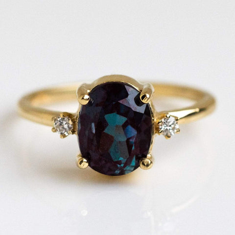 Alexandrite Unique Gemstone Diamond Solid Yellow Gold Fine Jewelry Charlie and Marcelle