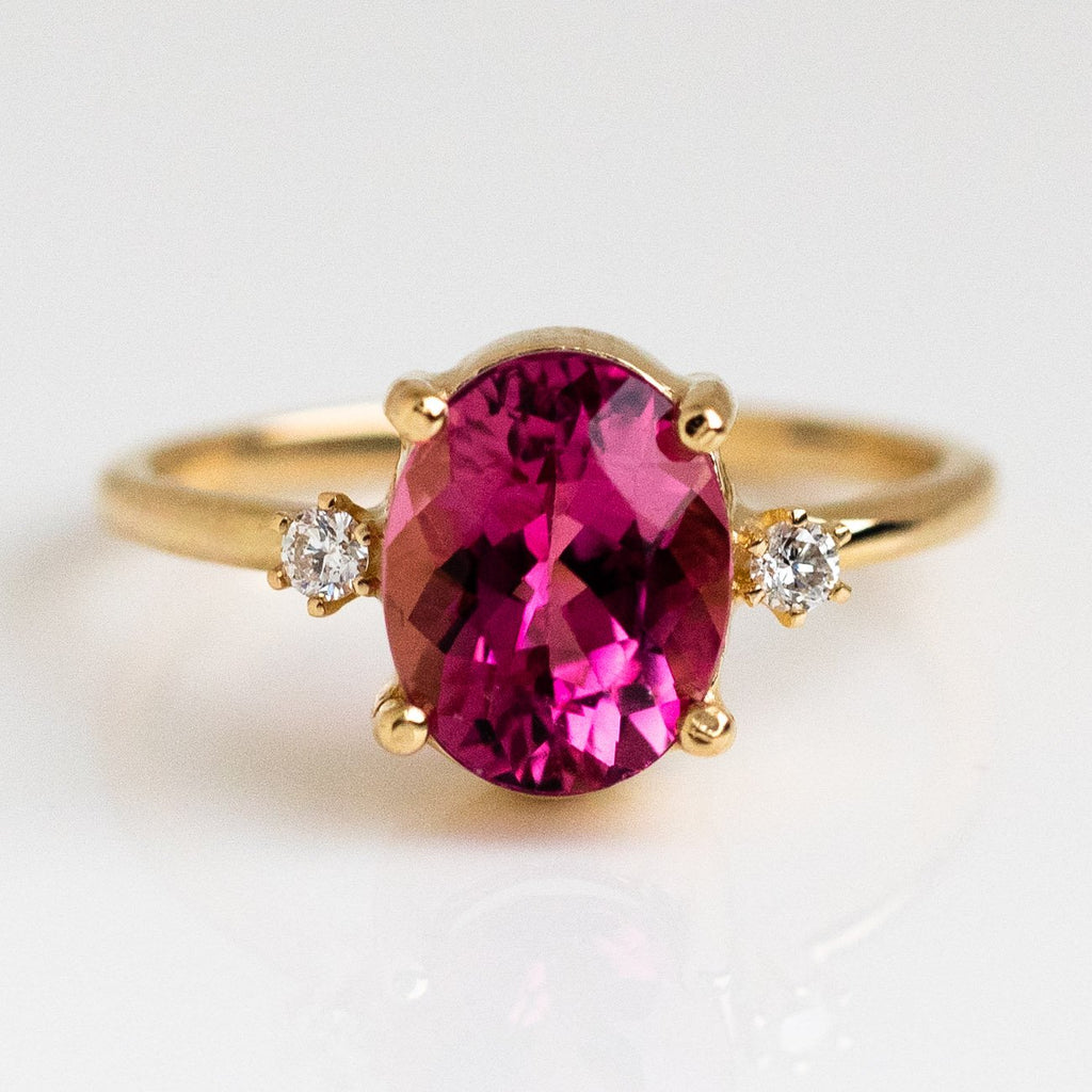Pink Tourmaline Oval Cut Solid Yellow Gold Diamond Charlie and Marcelle
