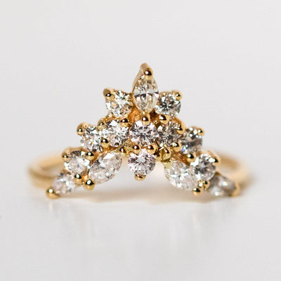 solid yellow gold unique diamond stacking ring