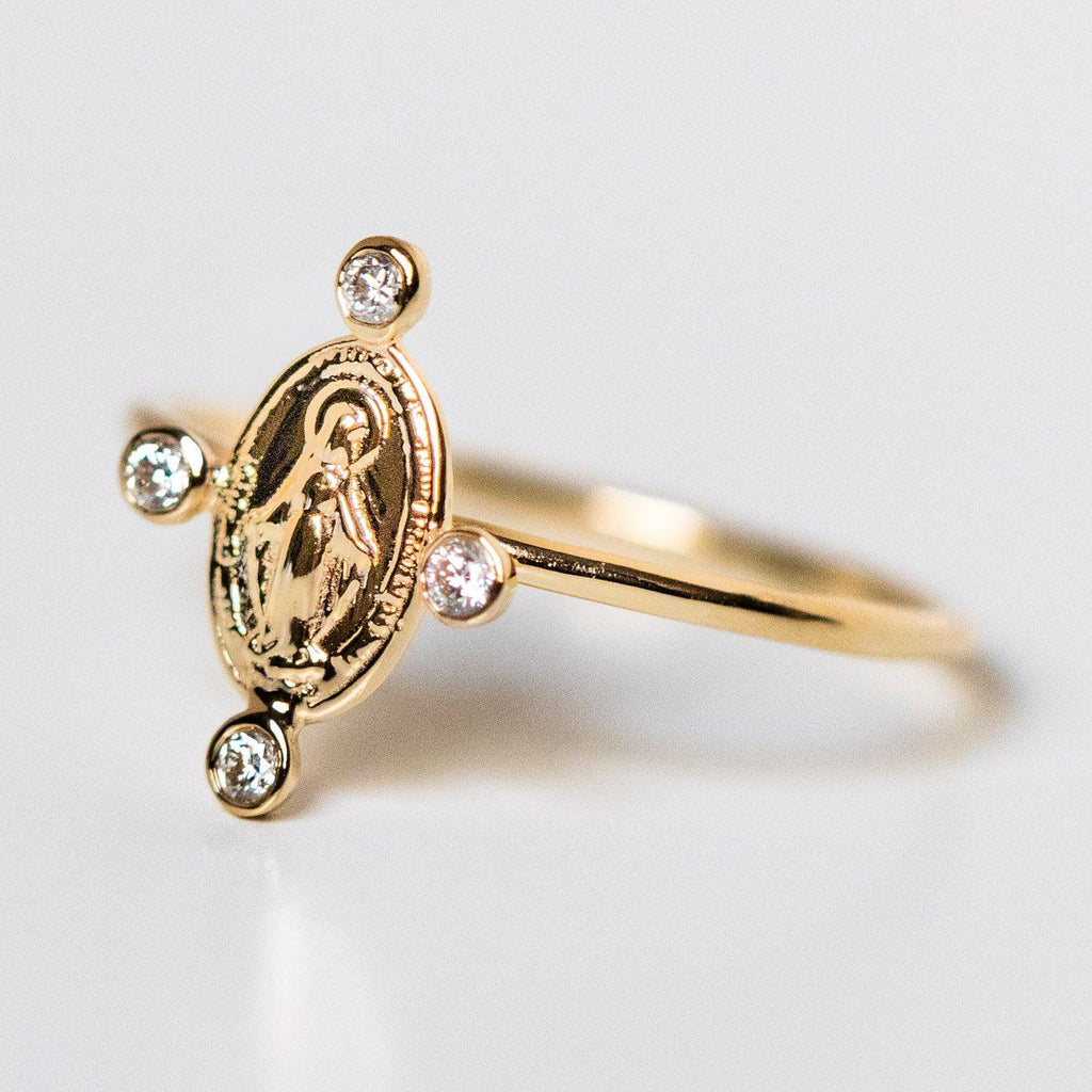 mother mary with diamonds yellow solid gold ring