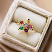 solid yellow gold rainbow gemstone star ring unique fine jewelry
