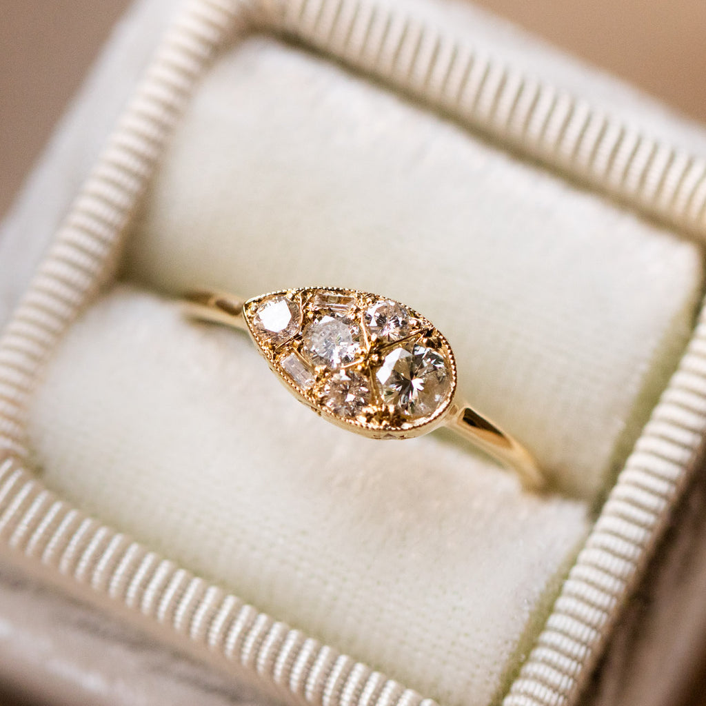 antique inspired solid yellow gold diamond ring