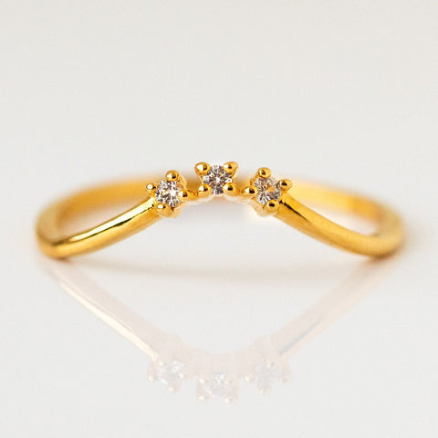 White Topaz Dainty Stacking Ring Yellow Gold