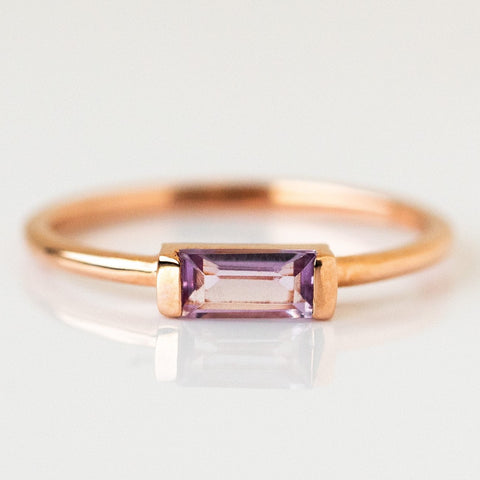 Pink Amethyst Rose Gold Simple Dainty Ring