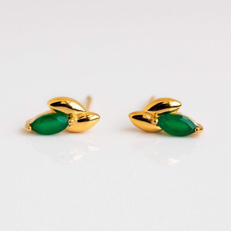 Local Eclectic - Laura Stud Earrings in 18K Yellow Gold Vermeil with Green Onyx - Curious Creatures