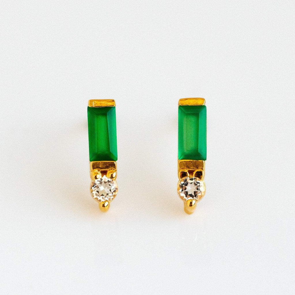 Green Onyx Baguette Gemstone Yellow Gold Stud Earring White Topaz