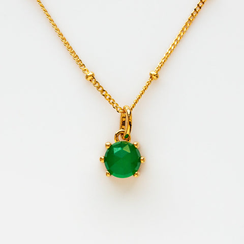 Green Onyx Yellow Gold Faceted Gemstone Necklace Pendant