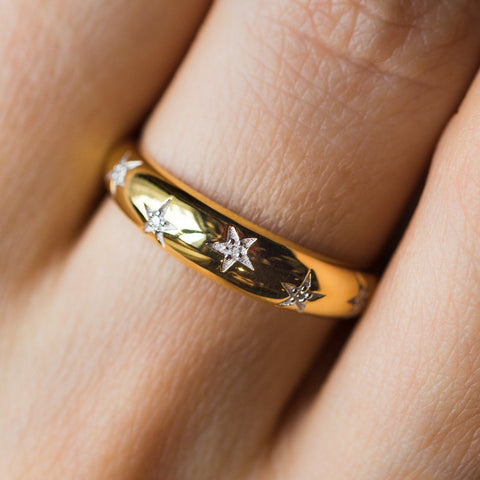 Chunky Star Set Diamond Band - rings - Carrie Elizabeth Jewelry local eclectic