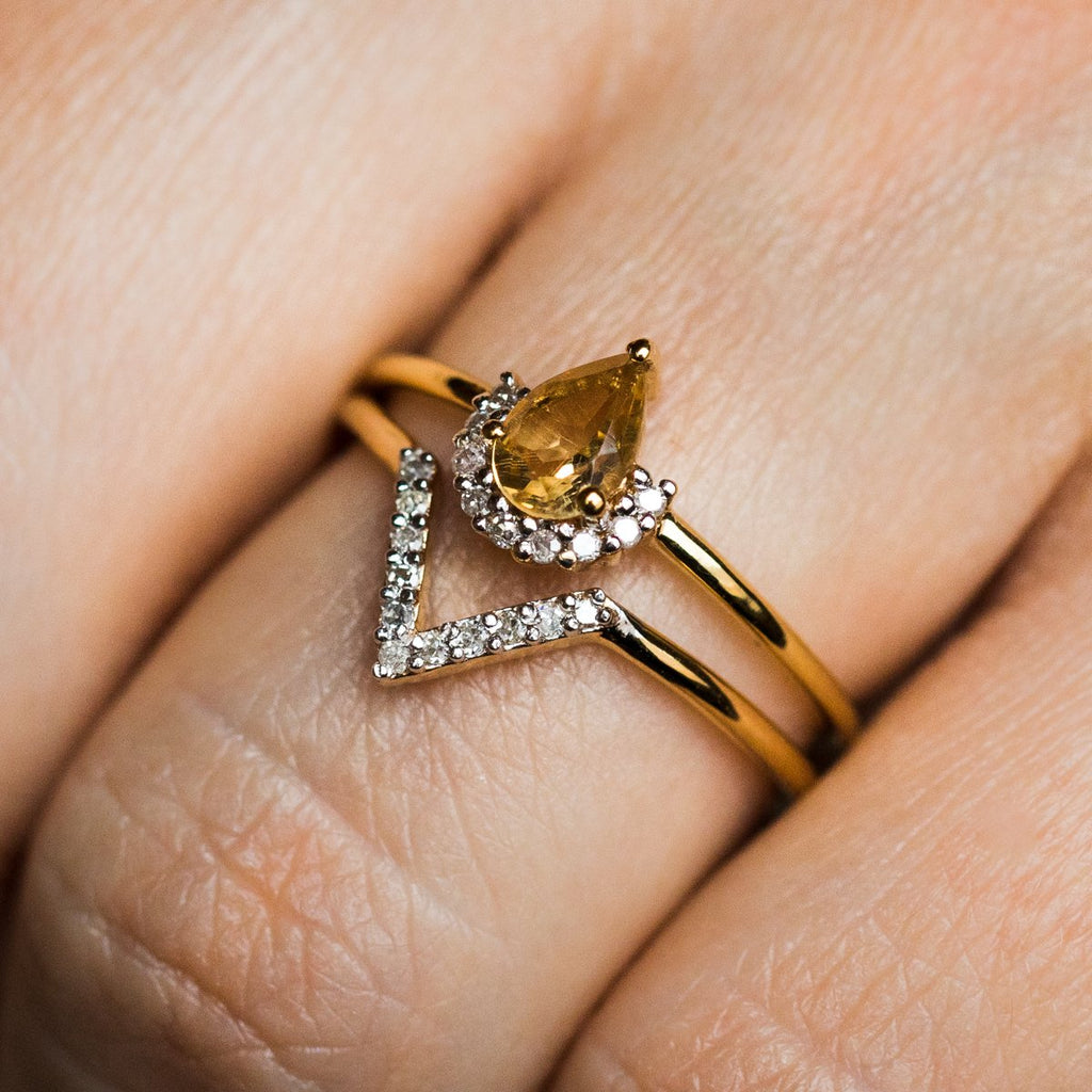 Citrine & Diamond Angel Stacking Ring Set - rings - Carrie Elizabeth Jewelry local eclectic