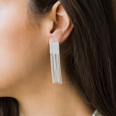 Cypress Chain Tassel Earrings in White - earrings - Lover's Tempo local eclectic