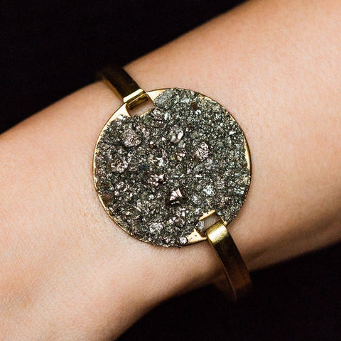 Circle Pyrite Swing Cuff - bracelets - Dea Dia local eclectic
