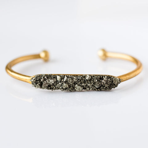 pyrite cuff and celestial cuff wrist stack