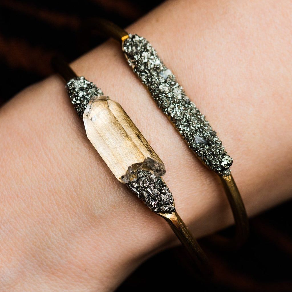 Raw Crystal & Pyrite Cuff - bracelets - Dea Dia local eclectic