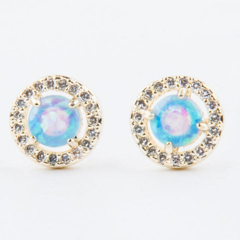 Baby Sarah Louise Blue Opal Stud Earrings - earrings - Melinda Maria local eclectic