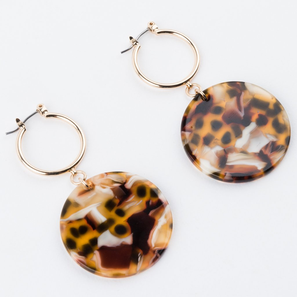 Lani Hoop Earrings in Amber Tortoise - earrings - Sundara Mar local eclectic